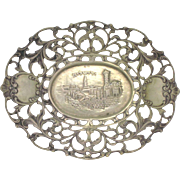 19c Judaica Continental Silver Dish w/ View of Jerusalem