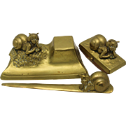 SNAIL CHILDREN Art Nouveau Vienna Bronze Desk Set Tereszczuk