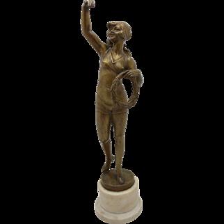 BRUNO ZACH Risque Bronze Bather w/ Laurel Austrian Vienna TUCH