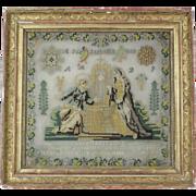 Antique French Religious Needlework / Sampler 1839