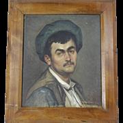 French Original Oil Portrait on Canvas