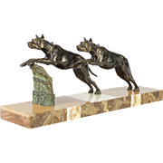 """French Art Deco """"Bronze"""" Great Danes statue with Marble base"""