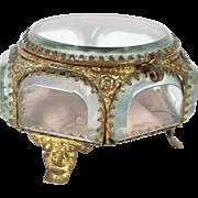 French Antique Napoleon III Polygon Jewellery Box // Ring Box