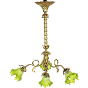 French Ormolu Ceiling Light With Green Glass Tulip Shades