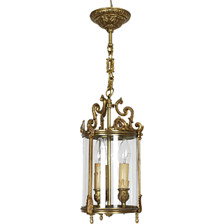 Vintage French glass and brass corridor three bulb ceiling light.