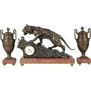 Antique French Mantel Clock and Garniture (urns)