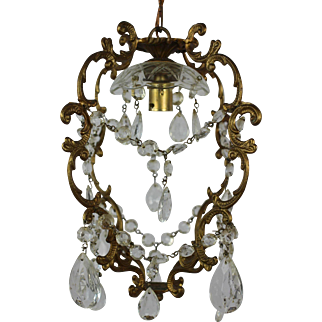 Petite French Birdcage Crystal Chandelier
