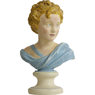 French Plaster Painted Advertising Mannequin Bust