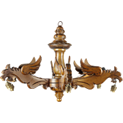 French Vintage Solid Wood Chandelier