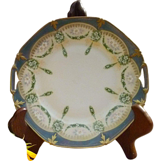 Gorgeous Vintage Hand Painted 9.5 Inch Handled Cake Plate