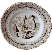 19th Century Miniature Staffordshire Scenic View Childs Plate C.1840