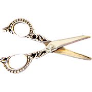 A Beautiful Pair Antique Silver/Sterling  Miniature Sewing Scissors