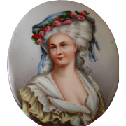 A Beautiful Antique French Hand Painted on Porcelain a Portrait of the Princesse De Lamballe