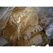 A French Rose Fabric Box Filled Antique Victorian Lace Antique Doll dress Making Projects
