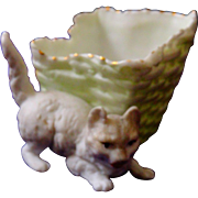 A Delightful Bisque Cat & Basket Pin Dish/Holder