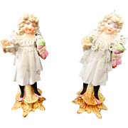 Two Beautiful Bisque Little Girls With Dolls Mold 6686