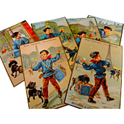 A Set of 6 Victorian French Paris Advertising Cards ' PETIT PARISIEN BISCUIT '