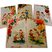 A Fabulous Group Antique French Advertising Cards ' Victorian Children '