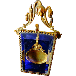 A Scumptious Rare Victorian French Faceted Glass Pocket Watch Holder C.1880