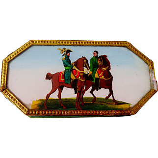 Rare Antique Napoleon On Horseback Eglomise Bon Bon Box C.1800's
