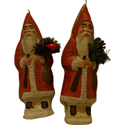 A Pair Antique German Dresden Card Father Christmas ~ St Nicholas ~ Tree Decoration - Red Tag Sale Item