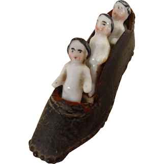 Three Frozen Charlotte' Who Live In An Antique Shoes C.1870/80
