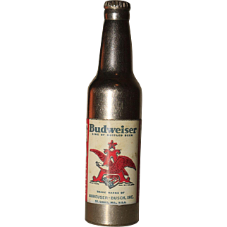 Vintage Kem Company Budweiser Anheuser-Busch Advertising Pocket Bottle Lighter