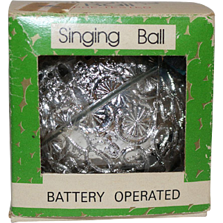 Silver Singing Ball Ornament 1976 Battery Operated in box