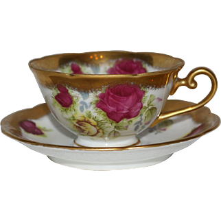 Lefton China Occupied Japan 1940s Rose and Gold Teacup and Saucer