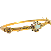 Antique Victorian Period Solid 14K Gold Fire Opal Hinged Bangle Bracelet circa: 1880
