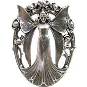 Extremely RARE Antique GORHAM Art Nouveau Sterling Silver Winged Butterfly Goddess Pin -Circa 1902