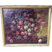 Large 19th Century Italian Baroque Oil Painting on Canvas - Urn of Flowers
