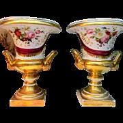 Superb Pair Empire Vieux Paris Porcelain Campana Vases With Botanical Painting c1830