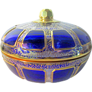 Antique MOSER Cut Cobalt Blue Cabochon Overlay & Gold Decorated Glass Box / Jar