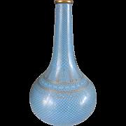Antique Chinese Cloisonne Enamel Sky Blue Monochrome Bottle Vase Circa 1900