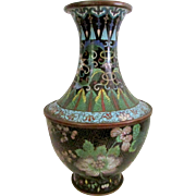 Antique Chinese Qing Cloisonne Enamel Black Ground Floral Vase - Mid 19th C