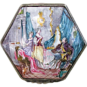Antique French Sceaux Style Enameled Faience Patch or Snuff Box in the Louis XV Taste - 19th C