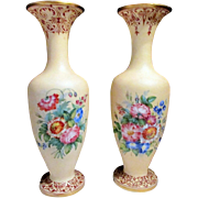 Rare & Unusual Pair Antique Napoleon III Baccarat Enameled Peach Satin Overlay OPALINE Tall Vases