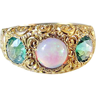 Colorful and Vibrant Antique Victorian Ornately Chased 10K Gold, Emerald & Opal Gypsy Band Ring - Circa 1890