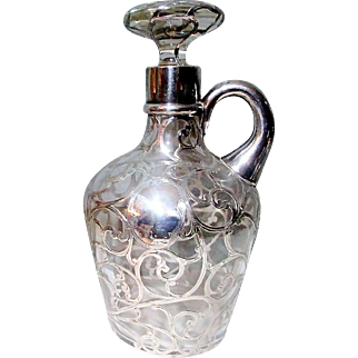 Marvelous Antique American Art Nouveau Sterling SIlver Overlay Crystal Spirits Decanter - Circa 1900