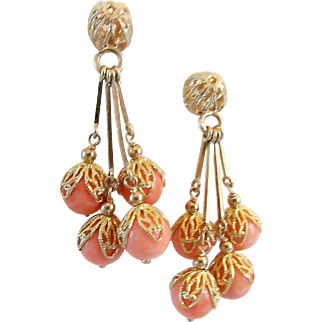 Delightful Vintage Italian Natural Salmon CORAL 14K Gold Openwork Filigree Dangle Earrings