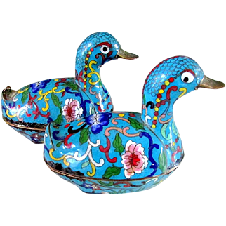 FINE Pair Antique Chinese Qing Dynasty Cloisonne Enamel Duck Form Scholar's Boxes - 19thC