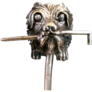 Unusual Antique Victorian Silver Plated Hat Pin - Figural Terrier Dog Fetching Riding Crop