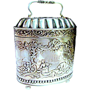 Antique Dutch .835 SIlver Footed Swing handled Table Box / Tea Caddy - Repousse 18th C Figural Scene