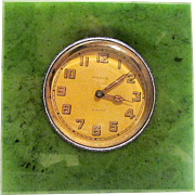 RARE Tiffany & Co Art Deco Period Nephrite Jade Silver Enamel Table Clock - Circa 1925
