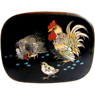 RARE & Wonderful Antique Japqanese MEIJI Cloisonne Enamel Table Box - Rooster Chicken & Chick