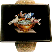 Victorian Roman Grand Tour Period 18K Gold Micro Mosaic Doves Of Pliny Bracelet