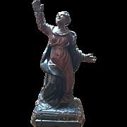 Antique Italian carved wood figure of a Saint, polychrome finish, circa 1780