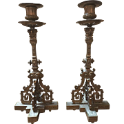 Antique pair of Renaissance style bronze candlesticks, circa 1890-1900. Height 12""