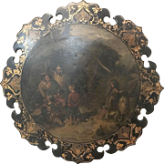 Antique English Victorian papier-mâché black lacquered and hand painted wall plaque.